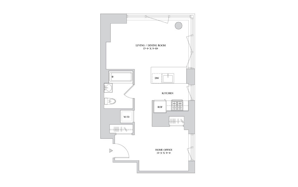 S-11 - Studio floorplan layout with 1 bath