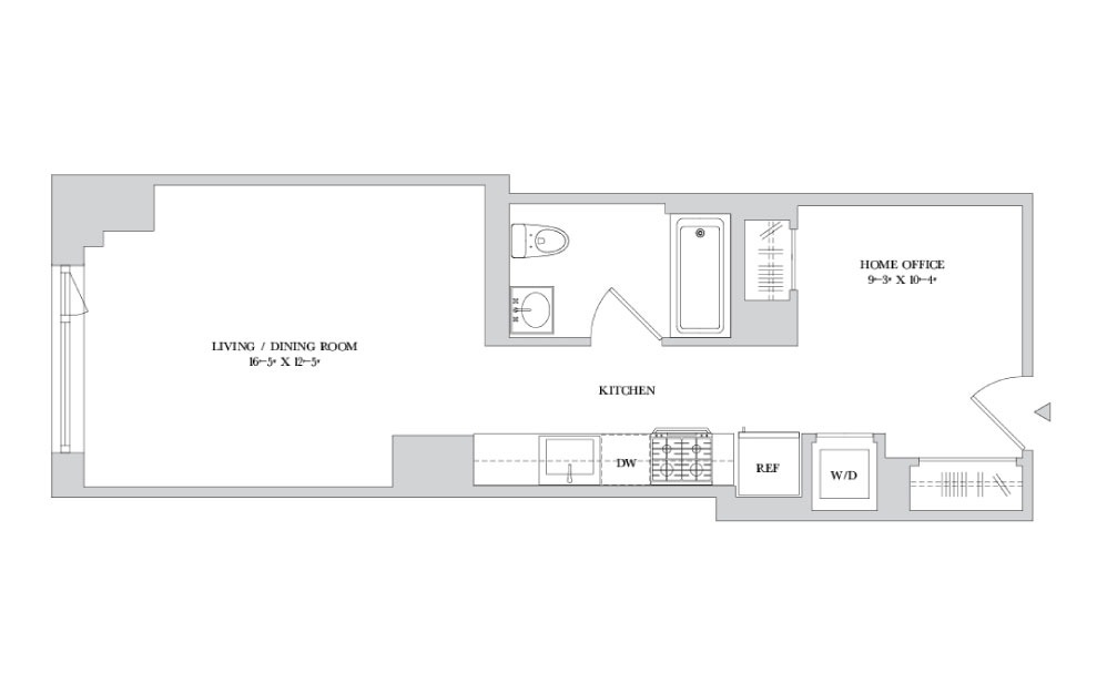 S-13 - Studio floorplan layout with 1 bath