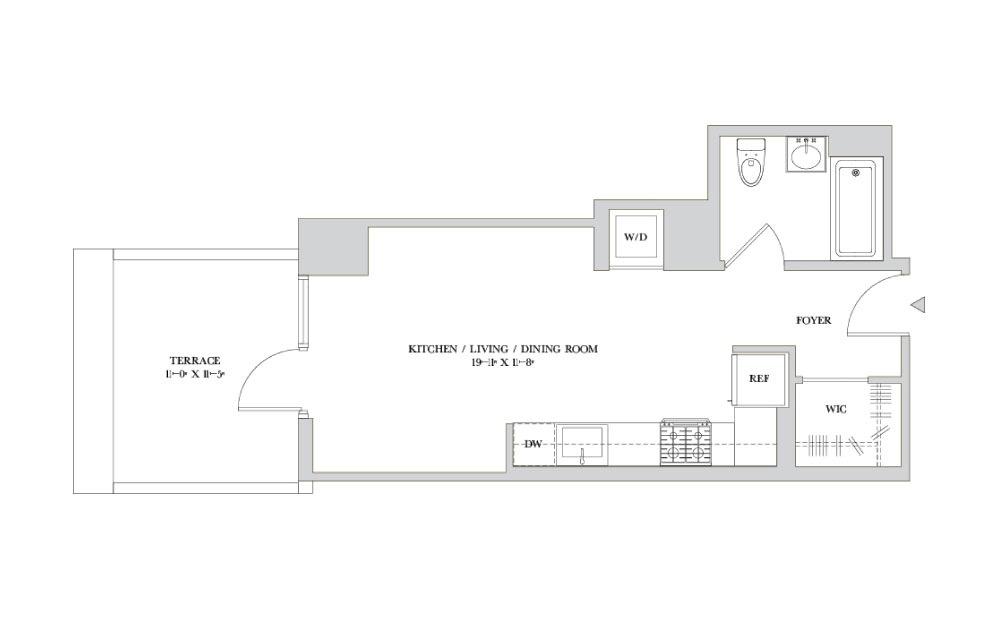 S-3 - Studio floorplan layout with 1 bath
