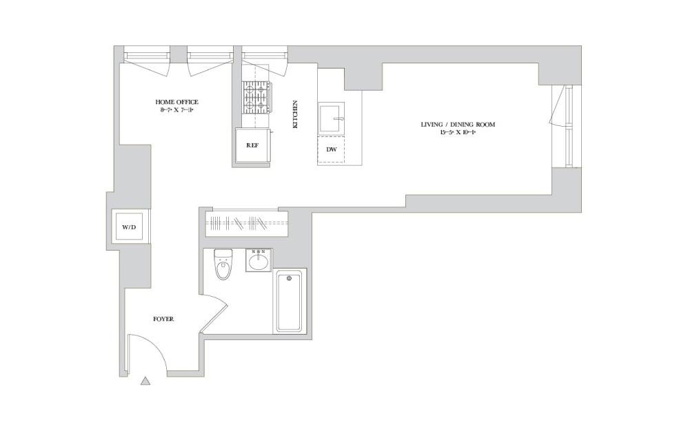 S-4 - Studio floorplan layout with 1 bath