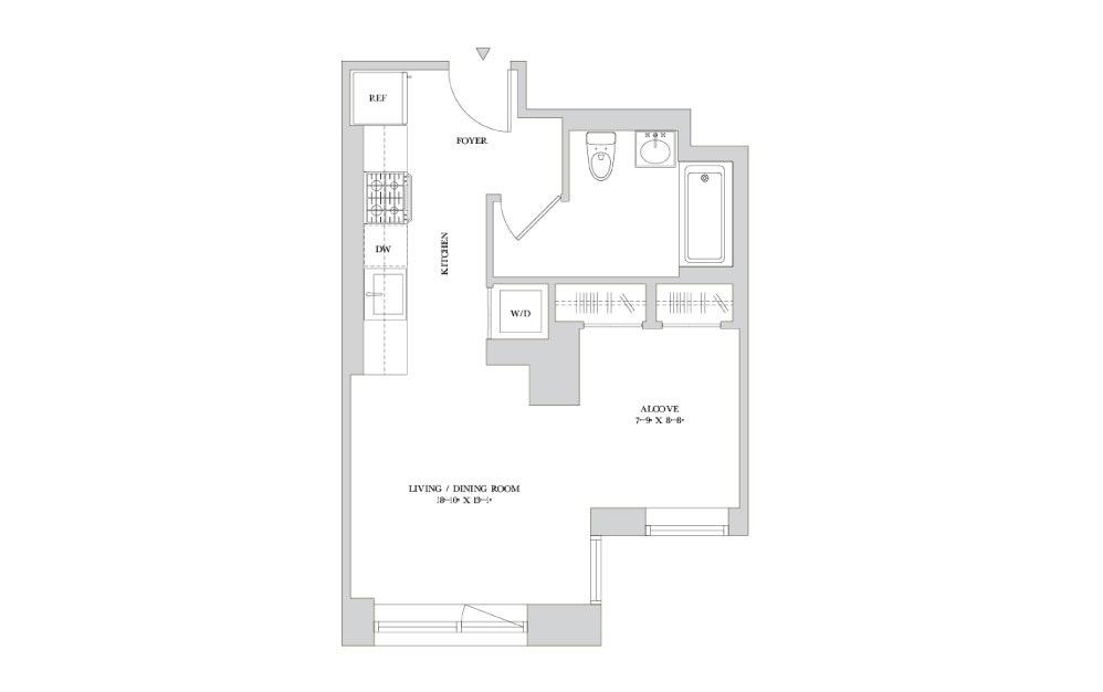 S-5 - Studio floorplan layout with 1 bath