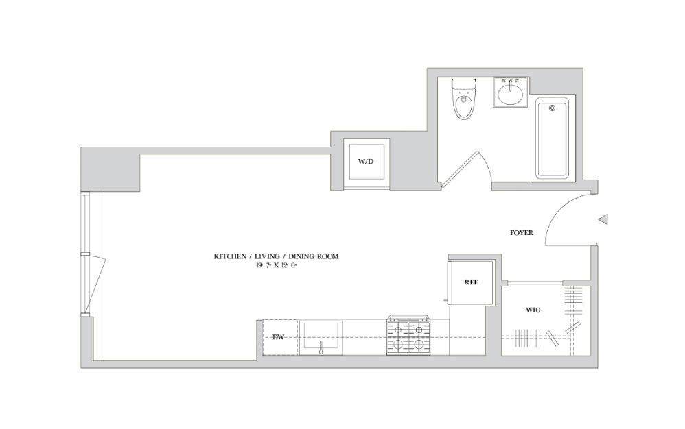 S-6 - Studio floorplan layout with 1 bath
