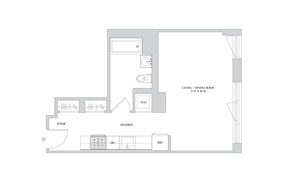 S-7 - Studio floorplan layout with 1 bath