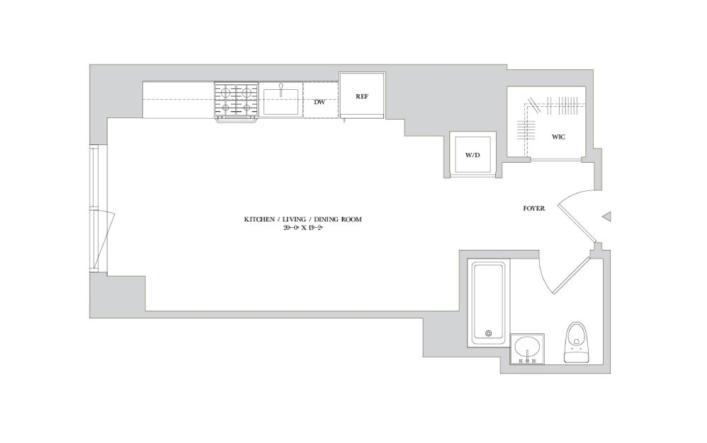 S-8 - Studio floorplan layout with 1 bath