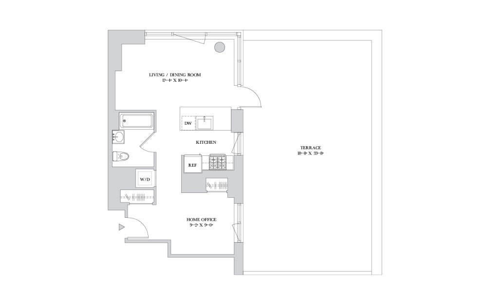 S-9 - Studio floorplan layout with 1 bath