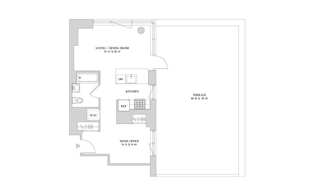 S-9 - Studio floorplan layout with 1 bath